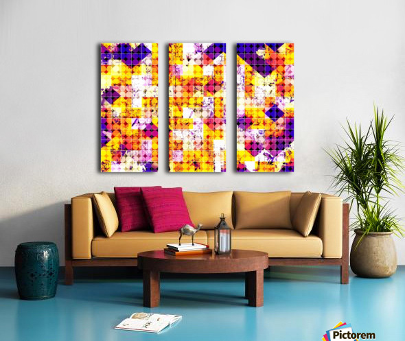 geometric square and circle pattern abstract in orange blue Split Canvas print