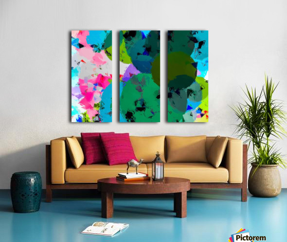 geometric circle pattern abstract in green blue pink Split Canvas print
