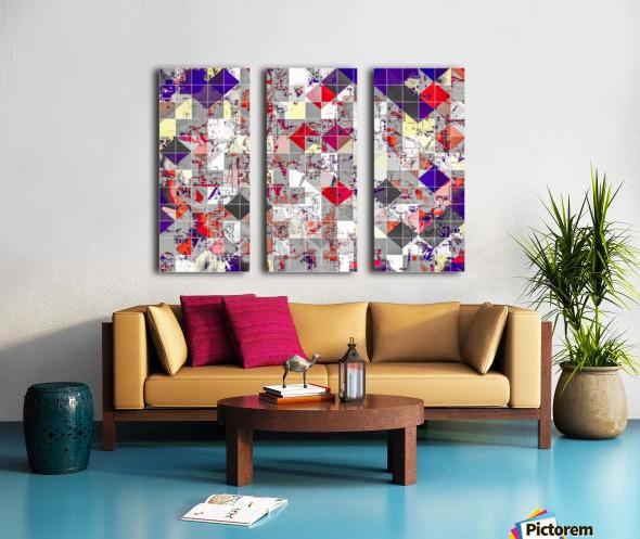 geometric square pixel pattern abstract in purple orange red Split Canvas print