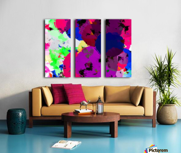 geometric circle pattern abstract in pink blue green Split Canvas print