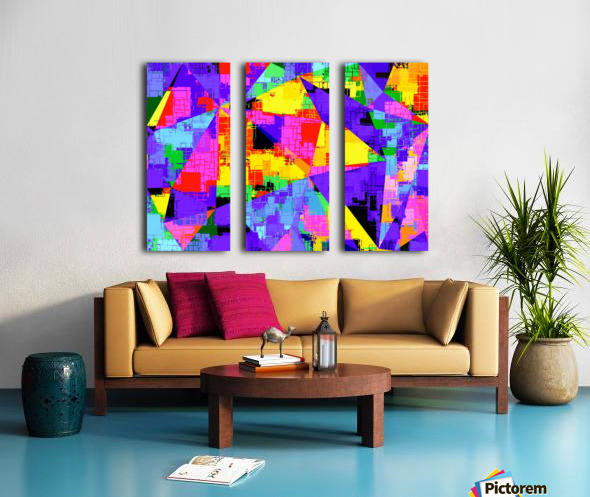 geometric triangle abstract background in purple blue pink yellow Split Canvas print