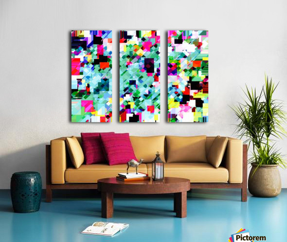 geometric square pixel pattern abstract in green pink blue yellow Split Canvas print