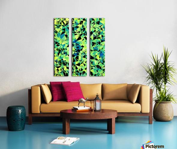 geometric triangle pattern abstract in green blue black Split Canvas print