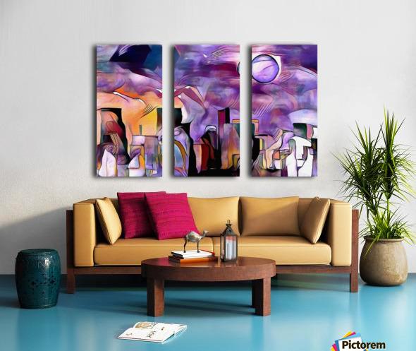 Colorful City Silhouettes Split Canvas print