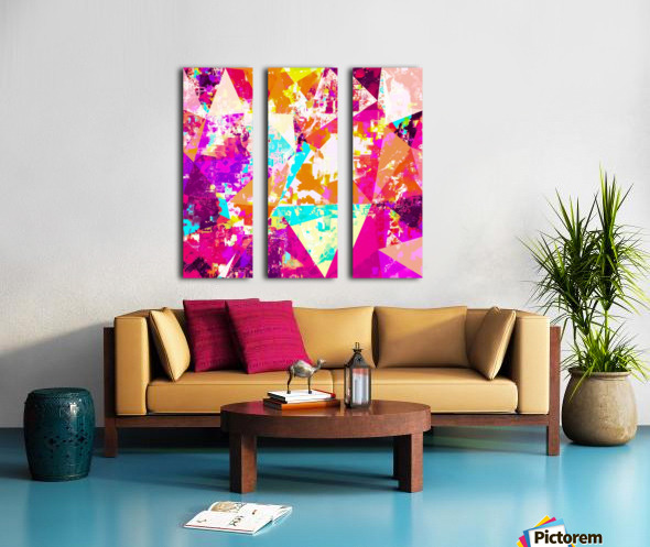 geometric triangle pattern abstract in pink blue purple Split Canvas print