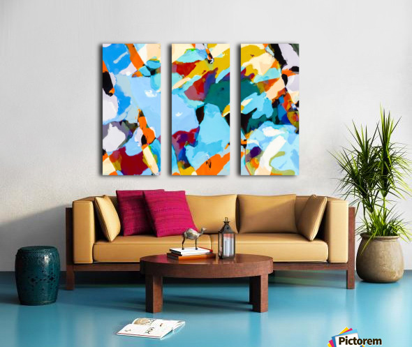 painting texture abstract in blue orange green yellow Split Canvas print