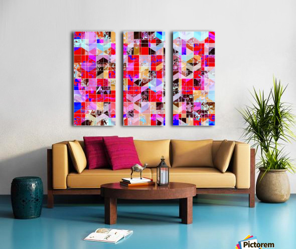 geometric square and triangle pattern abstract in red pink blue Split Canvas print