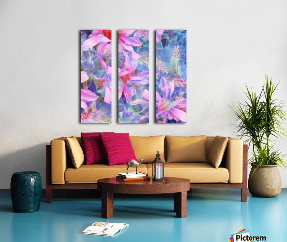 blooming pink and blue daisy flower abstract background Split Canvas print