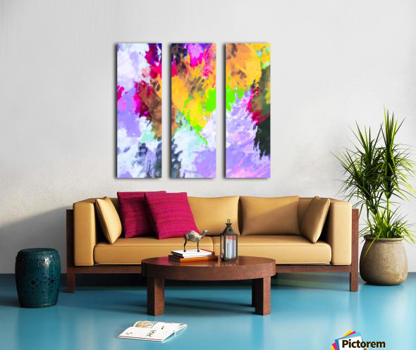 painting texture abstract background in purple yellow green pink Split Canvas print