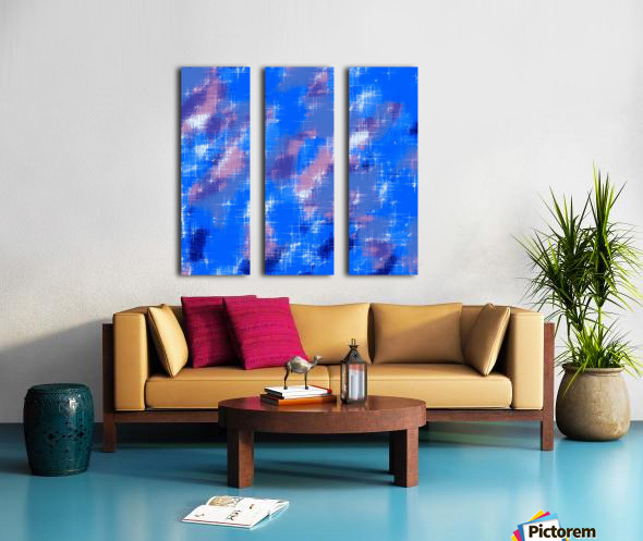 painting texture abstract background in blue pink Split Canvas print
