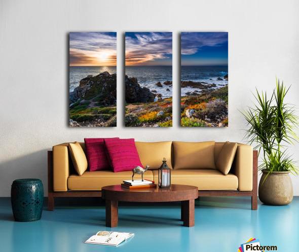 sea, seashore, water, nature, sky, blue, summer, landscape, colorful, clouds, sunset, outdoor, Split Canvas print