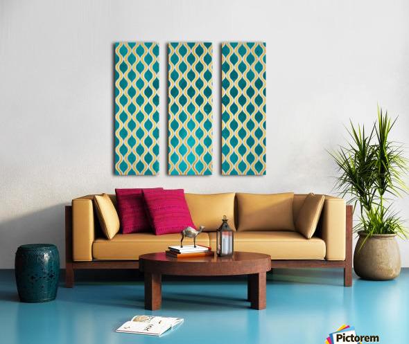 Gold - Turquoise pattern I Split Canvas print
