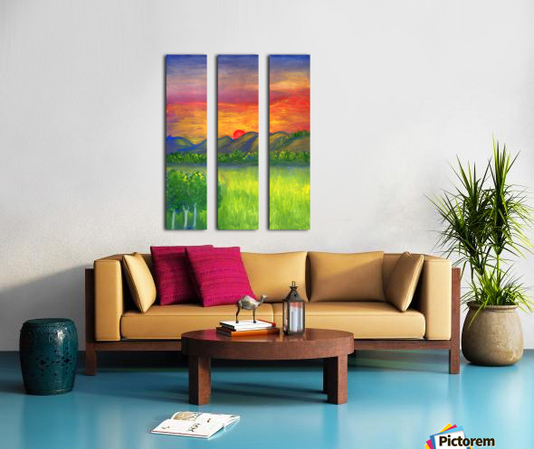 Mystical red sunset Split Canvas print