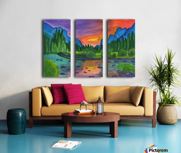 Mountain river in the background of the forest and the blue mountains at sunset Split Canvas print