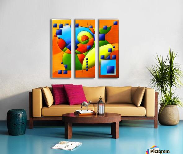 Fantisimella - colourful birdy abstract Split Canvas print