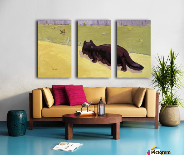 Cat and Butterfly Split Canvas print