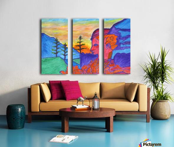 Mystical rock with a profile at sunrise Split Canvas print