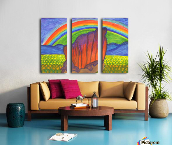 Mystical rock under the rainbow Split Canvas print