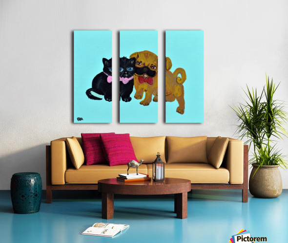 Pugs and Hugs. Erin R Split Canvas print