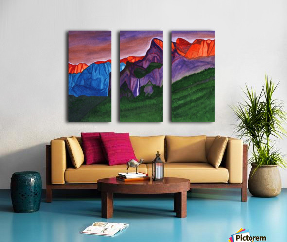Snowy peaks of the mountains with a waterfall lit up by the orange dawn Split Canvas print