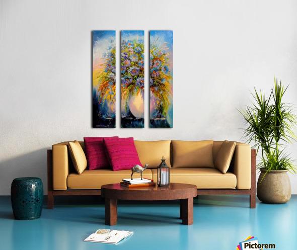 A bouquet of blue flowers Split Canvas print
