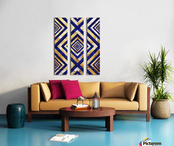 Geometric Gold Dark Blue Marble Split Canvas print