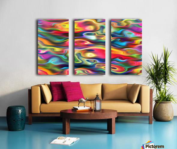 Abstract Colorful Waves Split Canvas print