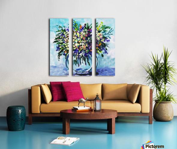 Impressionistic Flowers Burst Of Beauty Split Canvas print