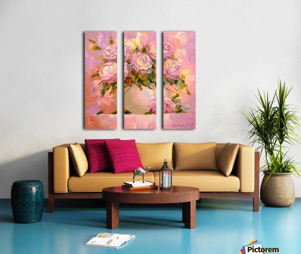 A bouquet of delicate roses Split Canvas print