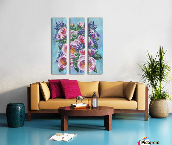 Beautiful Impressionistic Flowers Split Canvas print