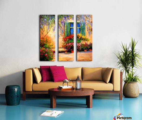 Blooming summer patio Split Canvas print