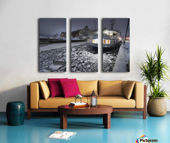 Frozen Nyhavn canal in winter Split Canvas print