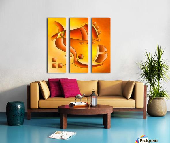 Sankhiassa - dragonfly with orange sky Split Canvas print