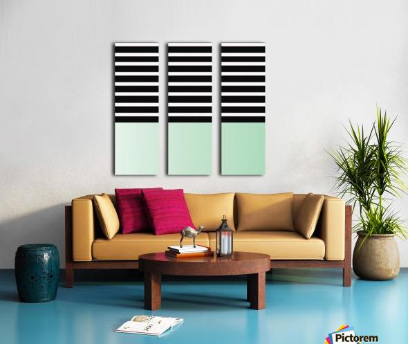Black & White Stripes with Green Patch Split Canvas print