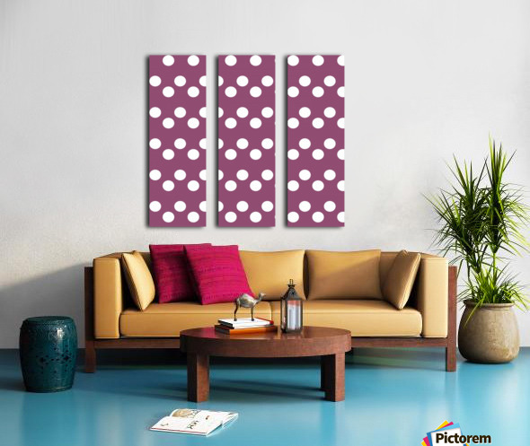 BURGUNDY Polka Dots Split Canvas print