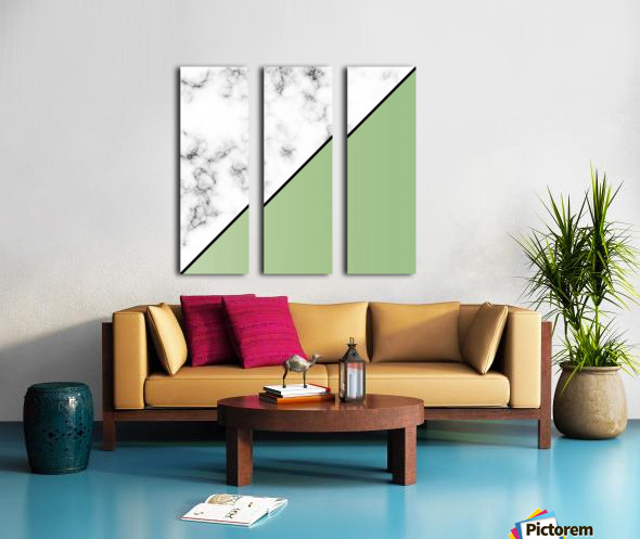 ABSTRACT MODERN YELLOW GREEN MARBLE Split Canvas print