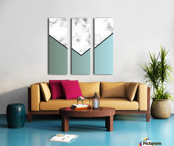 ABSTRACT GRAYISH BLUE MODERN MARBLE Split Canvas print