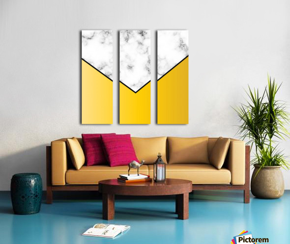 ABSTRACT YELLOW PASTEL MODERN MARBLE Split Canvas print