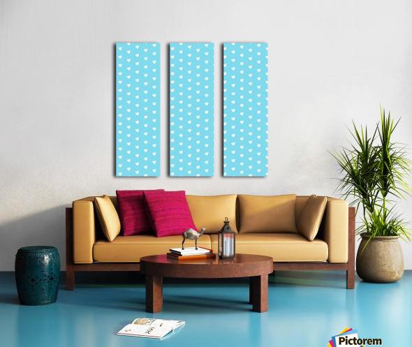 Sky Blue Heart Shape Pattern Split Canvas print
