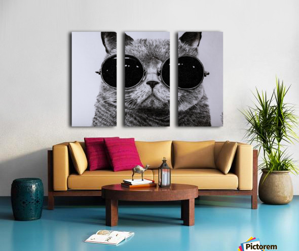 The Cat with glasses Split Canvas print