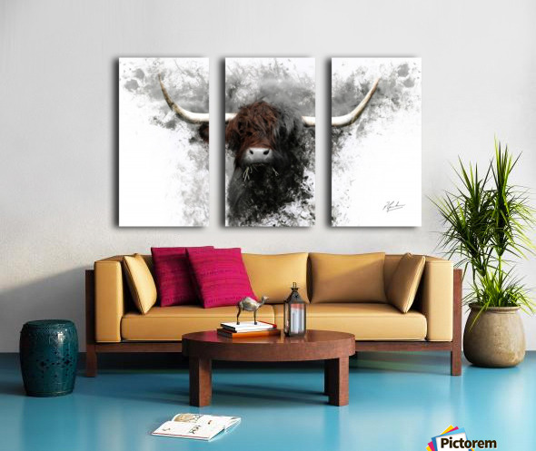 Highland Cow in Ink Split Canvas print