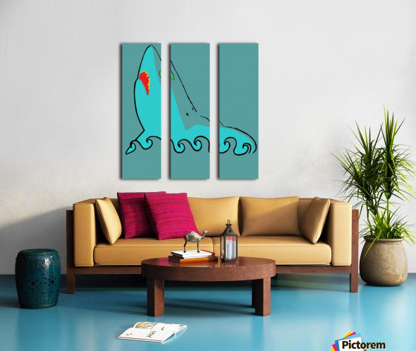 an abstract illustration of the blue shark head in blue background vector Split Canvas print
