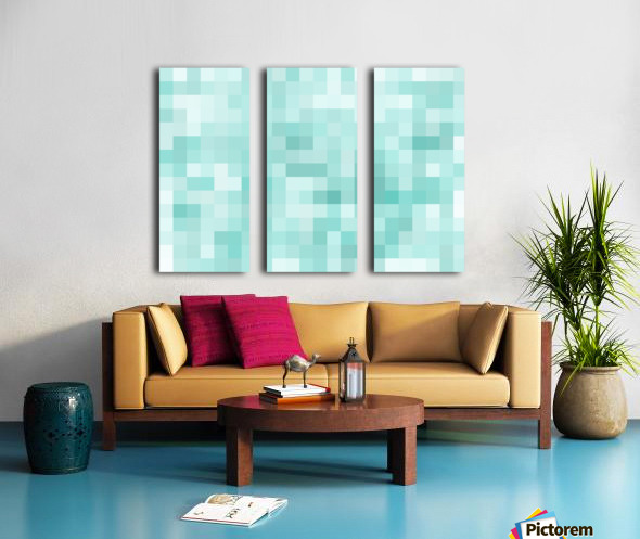 geometric square pixel pattern abstract in green Split Canvas print