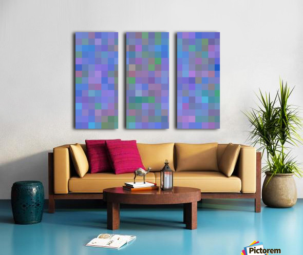 geometric square pixel pattern abstract in purple blue pink Split Canvas print