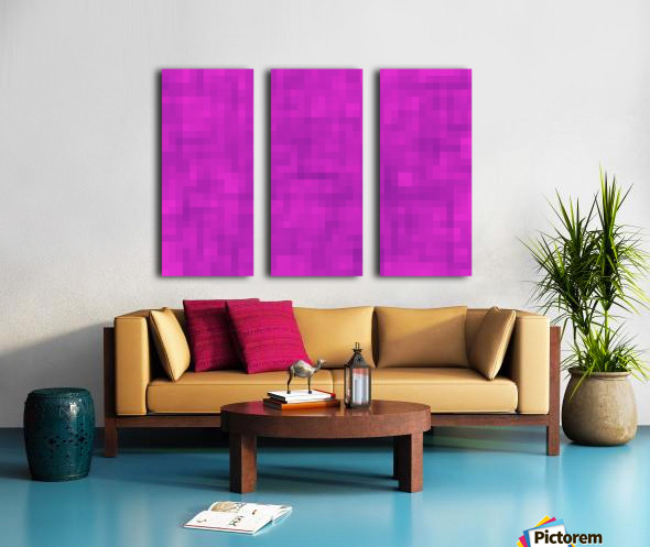geometric square pixel pattern abstract in pink and purple Split Canvas print