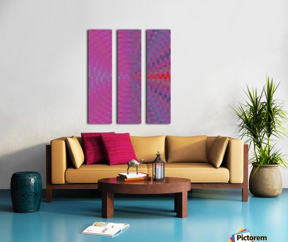 geometric square pixel pattern abstract background in pink and blue Split Canvas print