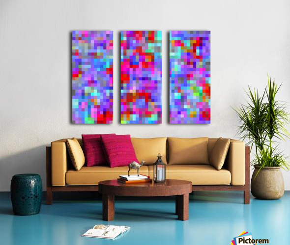 geometric square pixel pattern abstract background in blue purple pink red Split Canvas print
