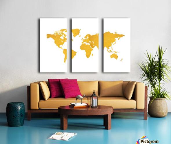 Golden World Map - White Background Split Canvas print