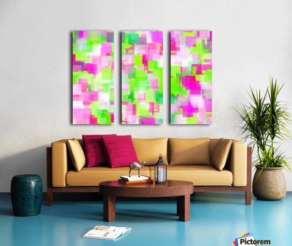 geometric square pattern abstract background in pink and green Split Canvas print