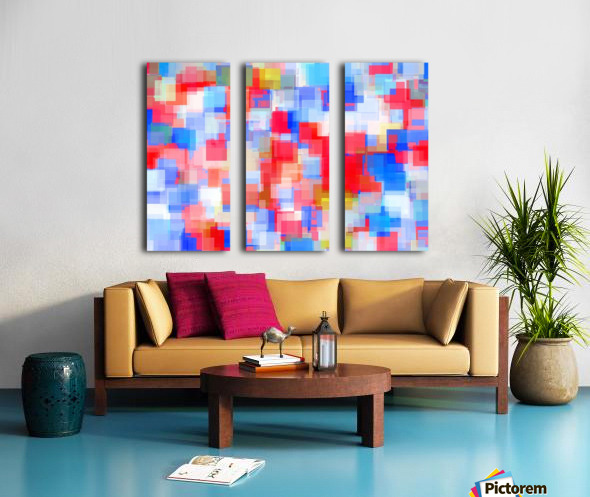 geometric square pattern abstract background in red and blue Split Canvas print